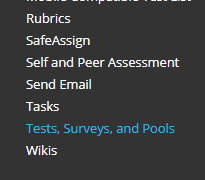 Tests, Surveys, and Pools in Control Panel